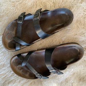 Birkenstock Black Leather Sandals Women Size 41